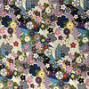 Japanese Fabric - Metallic / Tossed Flowers / Blue / (A) JTF01
