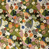 Japanese Fabric - Metallic / Tossed Flowers / Green / (A) JTF02