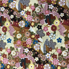 Japanese Fabric - Metallic / Tossed Flowers / Brown / (A) JTF03