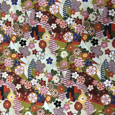 Japanese Fabric - Metallic / Tossed Flowers / Orange / (A) JTF04