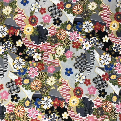 Japanese Fabric - Metallic / Tossed Flowers / Black / (A) JTF05