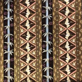 Japanese Fabric - Metallic / Bamboo Crane / Brown / (A) JC02