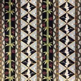 Japanese Fabric - Metallic / Bamboo Crane / Navy / (A) JC01