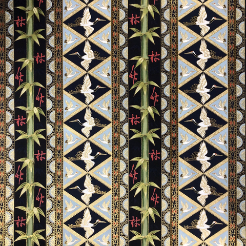 Japanese Fabric - Metallic / Bamboo Crane / Navy / (A) JC01
