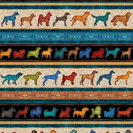 QT - Must Love Dogs / Dog Stripe - Black - 26936-J