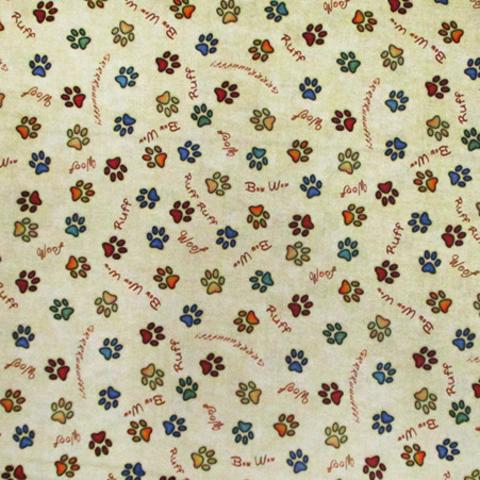 QT - Must Love Dogs / Paw Prints / Multi Color / Tan / 26939-E