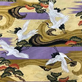 Japanese Fabric - Metallic / Crane / Stripes / Violet / JC03 (A)