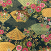 Japanese Fabric - Metallic / Fans and Flowers / Teal / JTF06 (A)