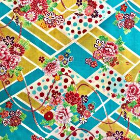 Japanese Fabric - Kokka / Diamond Flowes / Teal / JTF07 (A)