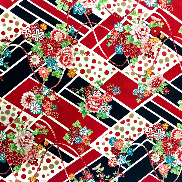 Japanese Fabric - Kokka / Diamond Flowes / Red / JTF08 (A)