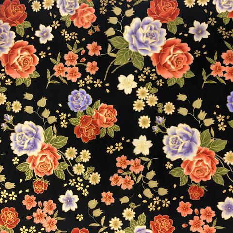 Japanese Fabric - Metallic / Flowers / Black / JTF09 (A)