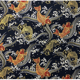 Japanese Fabric - Metallic / Koi Fish / Navy / JKF01 (A)