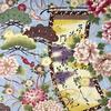 Japanese Fabric - Metallic / Scroll and Flowers / Blue / MJP01 (A)