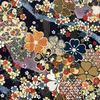 Japanese Fabric - Metallic / Garden Tossed Flowers / Navy / JTF12 (B)