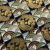 Japanese Fabric - Metallic / Koi Fish and Wave Squares / Navy / JKF02 (B)