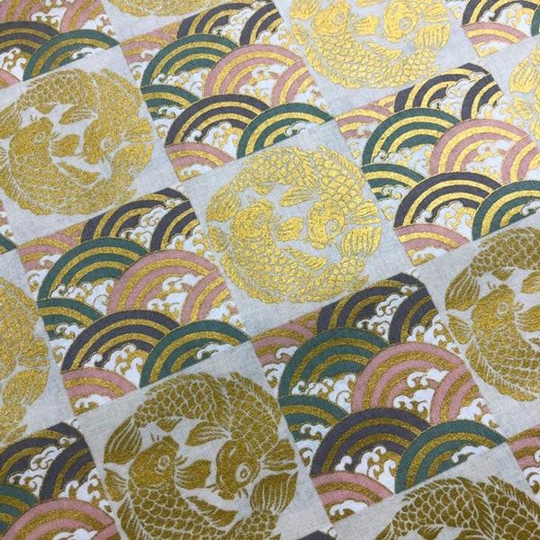 Japanese Fabric - Metallic / Koi Fish and Wave Squares / Cream / JKF03 (B)
