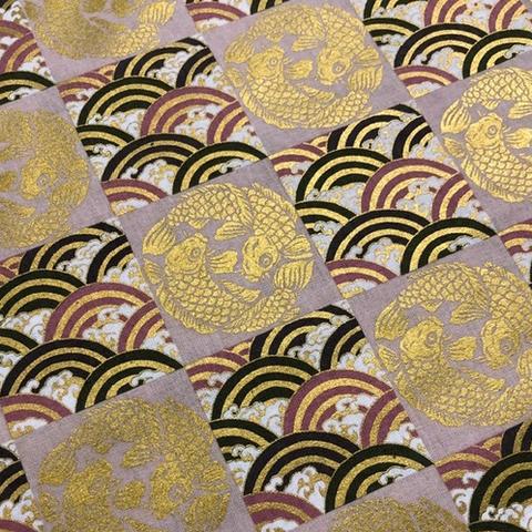 Japanese Fabric - Metallic / Koi Fish and Wave Squares / Pink / JKF04 (B)