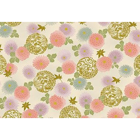 Japanese Fabric - Metallic / Koi Fish and Flowers / Cream / JKF06 (B)