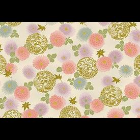 Japanese Fabric - Metallic / Koi Fish and Flowers / Cream / JKF06 (B)