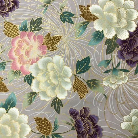 Japanese Fabric - Metallic / Large Flowers / Violet / JTF14 (B)