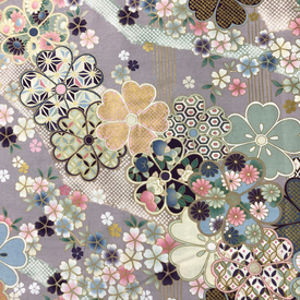 Japanese Fabric - Metallic / Garden Tossed Flowers / Violet / JTF13 (B)  copy