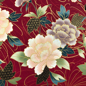 Japanese Fabric - Metallic / Large Flowers / Red / JTF15 (B)