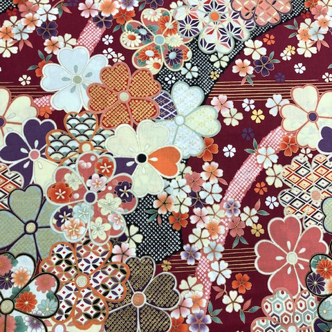Japanese Fabric - Metallic / Garden Tossed Flowers / Red / JTF16 (B)