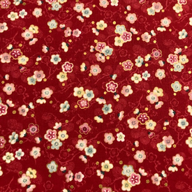 Japanese Fabric - Metallic / Mini Flowers / Red / JTF17 (B)