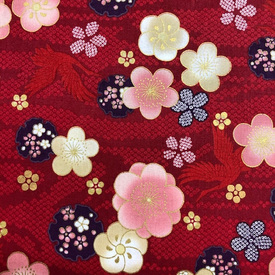 Japanese Fabric - Metallic / Tossed Flower Garden / Red / JTF18 (B)