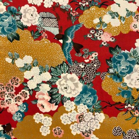 Japanese Fabric - Metallic / Doves in Flower Garden / Red / JTF19 (B)