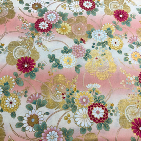 Japanese Fabric - Flower Garden Rows  / Peach / JTF22 (B)