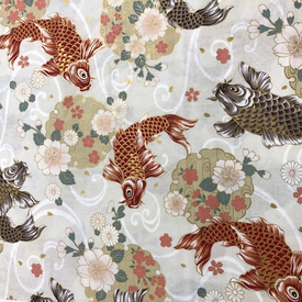 Japanese Fabric - Metallic / Large Koi Fish / Cream / JKF07 (B)