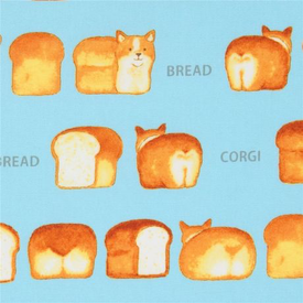 Japanese Canvas / Kokka / Corgi Bread / Blue / JLF-K-07