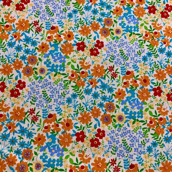 Japanese Canvas / Flower Garden / Blue / JLF-25