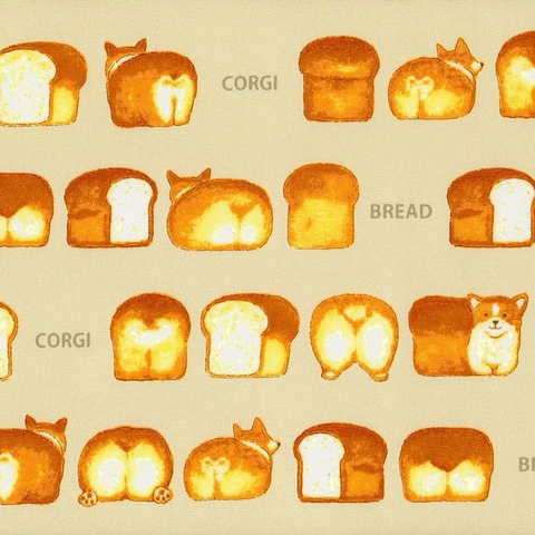 Japanese Canvas / Kokka / Corgi Bread / Cream / JLF-K-06