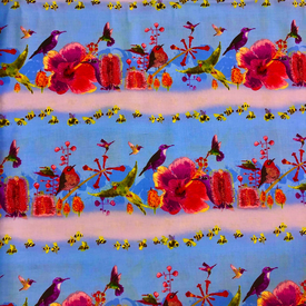 Clothworks - Flower Talk - Masha D'yans - Birds & Bee Stripe / Periwinkle / y3008-85