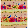 Clothworks - Flower Talk - Masha D'yans - Birds & Bee Stripe / Light Orange / y3008-35