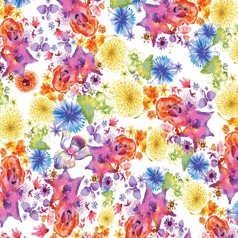 Clothworks - Flower Talk - Masha D'yans - Rainbow Floral / White / y3010-1