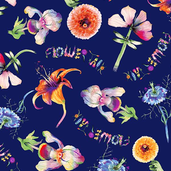 Clothworks - Flower Talk - Masha D'yans - Fun Floral / Navy / y3009-53