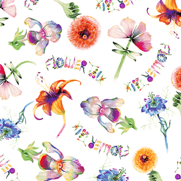 Clothworks - Flower Talk - Masha D'yans - Fun Floral / White / y3009-1