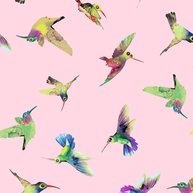 Clothworks - Flower Talk - Masha D'yans - Hummingbirds / Pink / y3011-41