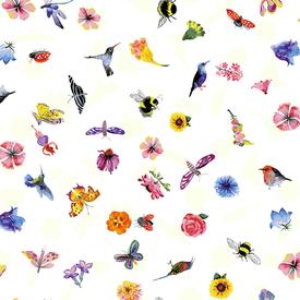 Clothworks - Flower Talk - Masha D'yans - Ditsy Nature / White / y3012-1
