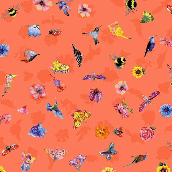 Clothworks - Flower Talk - Masha D'yans - Ditsy Nature / Coral / y3012-40