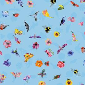 Clothworks - Flower Talk - Masha D'yans - Ditsy Nature / Blue / y3012-29