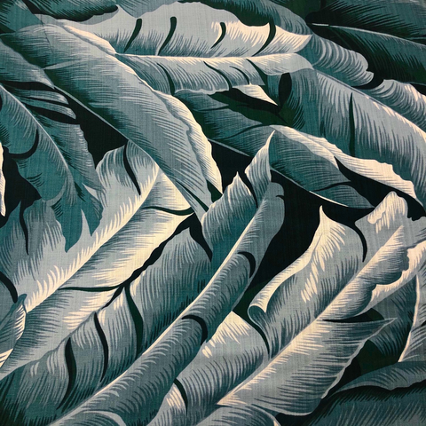 Hoffman - Barkcloth - Tropical Large Leaves / Dusty Teal / Q5006-D21