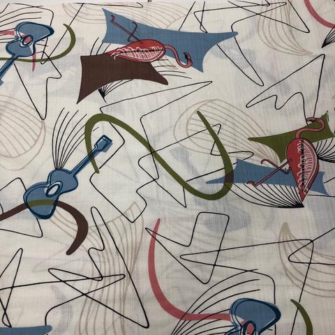 Hoffman - Barkcloth - Retro Vibes / Flamingo / White / Q5001-501