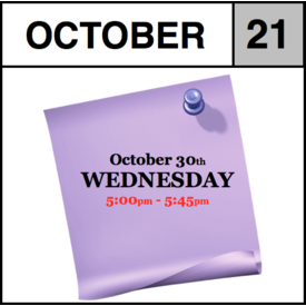 In-Store Appointment - October 21st, Wednesday (5:00pm-5:45pm)