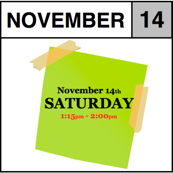 In-Store Appointment - November 14th - Saturday (1:15pm-2:00pm)