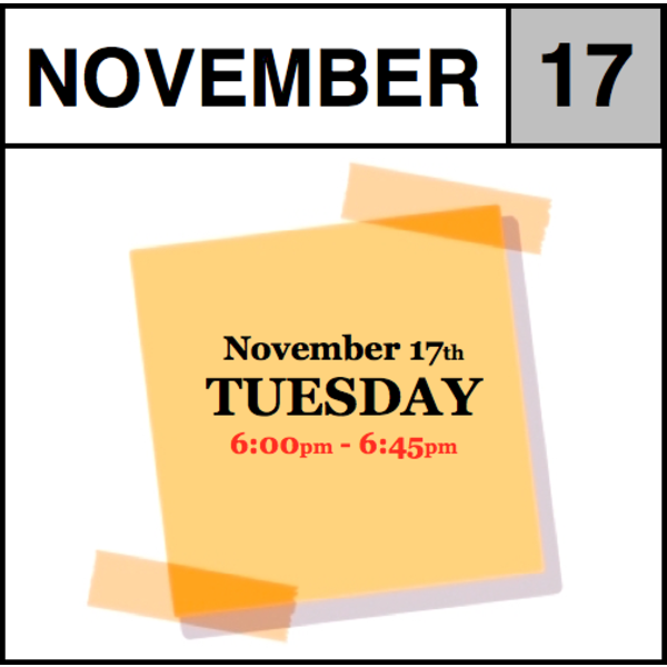 In-Store Appointment - November 17th, Tuesday (6:00pm-6:45pm)