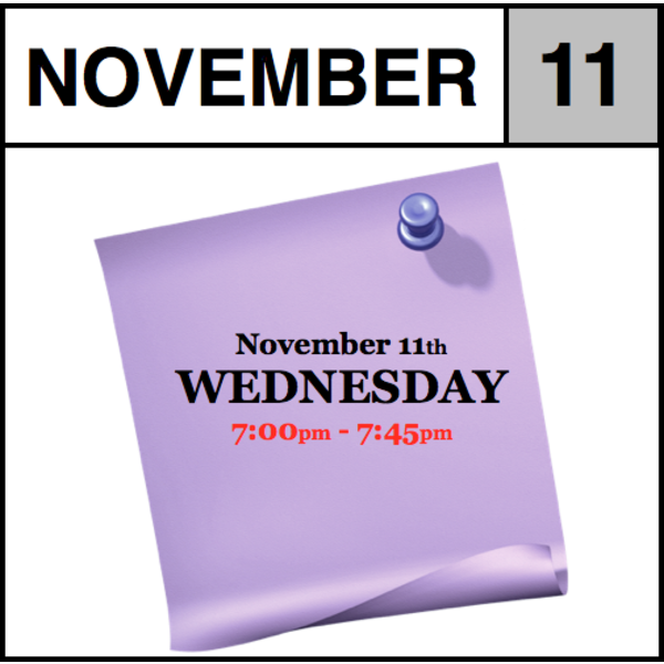 In-Store Appointment - November 11th, Wednesday (7:00pm-7:45pm)